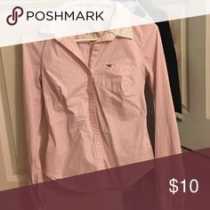 Hollister pin striped button down - pink & white Great condition (wrinkled, sorry!) Hollister Tops Button Down Shirts