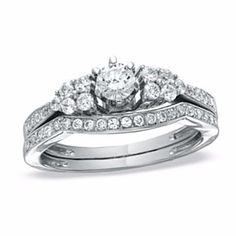 3/4 Ct Natural Diamond Contour Band Bridal Set In 14K White Gold # Free Stud Earrings by JewelryHub on Opensky
