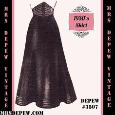 1930's A-line Corselet Waist Skirt Sewing Pattern #3507 (1939) | Mrs Depew Vintage