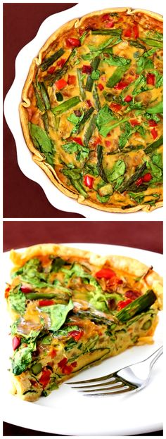 Dairy-Free Quiche -- Loaded up with delicious spring veggies.  I promise no one will even miss the cheese! gimmesomeoven.com #breakfast #brunch #recipe