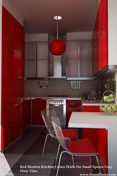 Check out our Elegant And Modern Red Kitchen Interior Design Ideas, Red & Black Kitchen and Ideas to Create Stunning Red and White Kitchen Design. Selection to match your style and budget. Small Modern Kitchens, Modern Kitchen Design, Interior Design Kitchen, Kitchen Small, Modern Design, Ikea Kitchen, Interior Decorating, Budget Kitchen Remodel, Galley Kitchen Remodel