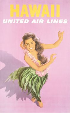 Original 1960s Hawaii United Airlines Travel Poster