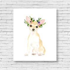 Watercolor chihuahua watercolor dog watercolor by zuhalkanar