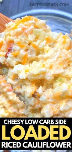 Riced cauliflower loaded with bacon, and tons of shredded cheese! Perfect low carb riced cauliflower keto friendly side dish done in just 10 minutes! Quick Side Dishes, Low Carb Side Dishes, Healthy Side Dishes, Vegetable Side Dishes, Side Dish Recipes, Keto Recipes, Cooking Recipes, Low Calorie Sides, Veggie Recipes