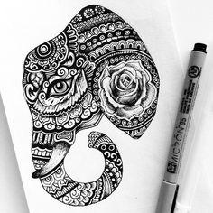 // rose elephant // #micron #pen #drawing #art #doodle #flower #sharpie #ink #design #mandala