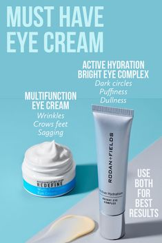 Use both Multifunction Eye Cream for fine lines and crow's feet, and Bright Eye Complex for dark circles and puffiness! Use both together or Bright Eye am and Multifunction pm. Dark Circle Cream, Eye Cream For Dark Circles, Anti Aging Eye Cream, Best Eye Cream, Multifunction Eye Cream, Rodan And Fields Canada, Rodan Fields Skin Care, Homemade Eye Cream, Hydrating Eye Cream