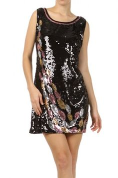 96 percent Polyester 4 percent Spandex 1S/1M/1L Per Pack Black This HIGH QUALITY dress is GORGEOUS! Made from a super soft and comfy fabric, this sequined a-line dress with a scoop neckline and a contrast solid back fits true to size.