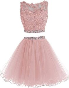 HTYS Beaded Two Pieces Prom Dresses Applique Short Homecoming Dresses Dama Dresses, Cute Prom Dresses, Prom Dresses 2015, Quince Dresses, Dresses For Teens, Pretty Dresses, Beautiful Dresses, Homecoming Dresses Pink, Quinceanera Dresses Short