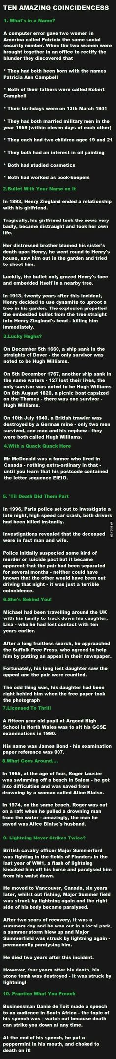 Funny pictures about Ten Amazing Coincidences. Oh, and cool pics about Ten Amazing Coincidences. Also, Ten Amazing Coincidences. Paranormal, The More You Know, Just For You, Wtf Fun Facts, Random Facts, Random Stuff, Crazy Facts, Fun Stuff, True Facts