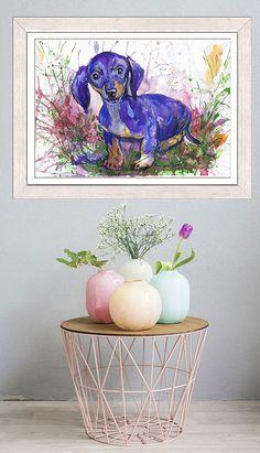 DOG watercolor  painting,  purple puppy, dog wall decor,  dachshund puppy,  animal  art print