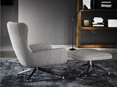 Wingchair with removable cover JENSEN BERGÈRE | Fabric armchair Jensen Series by Minotti