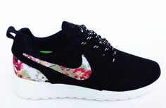 fd997d0a0390 Black Nike Roshe Run Womens Shoes Flower All New $87.24| www.foreshoes.com