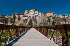 Cuenca, Spain.  I swear this foot bridge, which teeters hundreds of feet in the air, was NOT this sturdy looking when I walked across it!!!