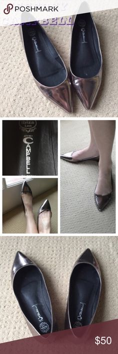 JEFFREY CAMPBELL SILVER FLATS sz 8.5/9 POINTED toe The perfectly pointed toe flats! By the trend setter JEFFREY CAMPBELL! Mirrored silver skimmers...classic year round, season after season. Marked as a 9.5 but fits an 8.5/9 best.  Great year round and holiday events! (S24) Jeffrey Campbell Shoes