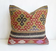 Embroidered Kilim Pillow Cover with Ethnic Stripes