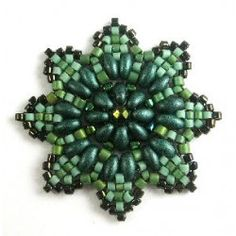 Green flower made with twin beads and delicas - on Bricol' Art