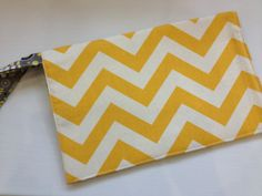 READY TO SHIP Yellow Chevron Diaper Clutch by JerseyPeachDesigns, $35.00