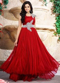 Dazzling Hot Red Net Designer Party Wear Dress