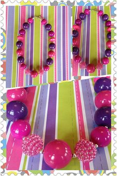 Chunky Bubblegum Bead Necklace Very Berry Magenta by YummyBaubles, $18.00