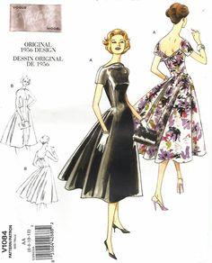 VOGUE 1084 MISSES' EVENING DRESS WITH FLARED SKIRT, RAISED NECKLINE PATTERN 6-12