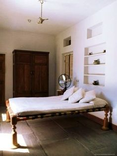 Photographic Print: Bedroom with Traditional Low Slung Bed or Charpoy in a Home in Amber, Near Jaipur, India by John Henry Claude Wilson : Home Bedroom, Bedroom Furniture, Home Furniture, Furniture Design, Bedroom Decor, Indian Furniture, Furniture Cleaning, Furniture Removal, Indian Home Decor