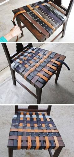 When you have too much belts  Recycle old belts to repair a chair