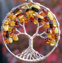 Tree of Life Pendant  Autumn  Amber by ethora on Etsy, $130.00