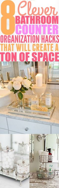 8 Small Bathroom Counter Organization Hacks That You Have To Try I absolutely love these 8 bathroom counter organization hacks. I never have to worry about my bathroom counter being cluttered again! You have to try these hacks! (Try Tip Beauty Hacks) Organisation Hacks, Organizing Hacks, Organizing Your Home, Life Organization, Organizing Clutter, Bathroom Counter Organization, Bathroom Counter Decor, Bathroom Storage, Bathroom Ideas