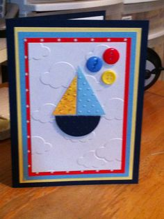 Buttons and boat baby card...Scrap Rx
