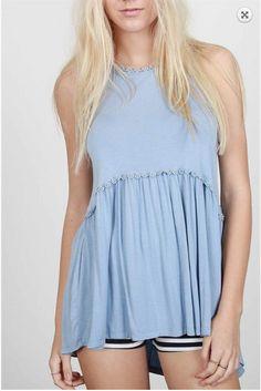 8805c22068190 Babydoll Racerback Top w Back Zipper - Sky blue Trendy Clothes For Women