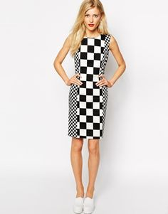Enlarge Love Moschino Body-Conscious Dress in Racer Square Print