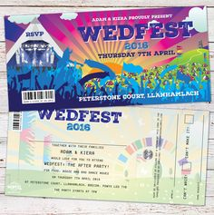 Wedfest Festival Theme Wedding Invitation http://www.wedfest.co/boho-and-wedfest-festival-wedding-invitations/