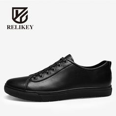 39.17$  Watch here - RELIKEY Brand Men Causal Shoes Handmade Genuine Leather Top Quality Lace-up Black Leisure Male Flats Spring Shoes for Men  #buychinaproducts