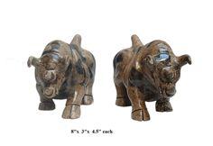 Pair Chinese Oriental Jade Stone Carved Rhinoceros Figures - Golden Lotus Antiques