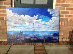 Wolken en wad geschilderd door Ina Vos