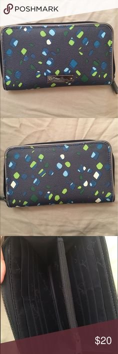 Blue Vera Bradley wallet!! Blue wallet with green blue and white speckles! In great condition! Holds 12 cards and a slot for ID! Vera Bradley Bags Wallets