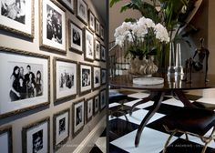 kris jenner home.  gallery wall hallway, entry~~ taupe, black, white