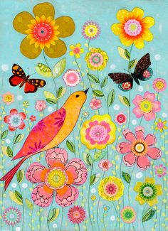 Bird and Flower Painting Art Print on Wood Floral by Sascalia, $35.00