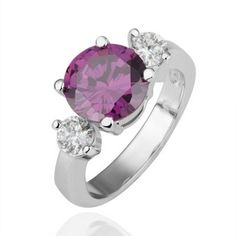 Plated White Gold Ring Round Jewel Purple Zirconia Ring