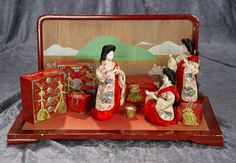 Rare Trio of 19th Century Japanese ceremonial ladies in waiting, with furnishings. $600/900