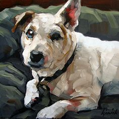 A painting of my late Jack Russell, Abbey, by artist Karin Jurick.