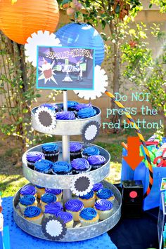 """""""Cupcake-inator"""" for Phineas and Ferb birthday party. How stinkin' cute!"""