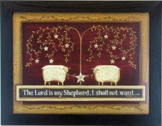 The Lord is my Shepard framed print...Colonial and primitive country home decor from FARMHOUSE PRIMITIVES