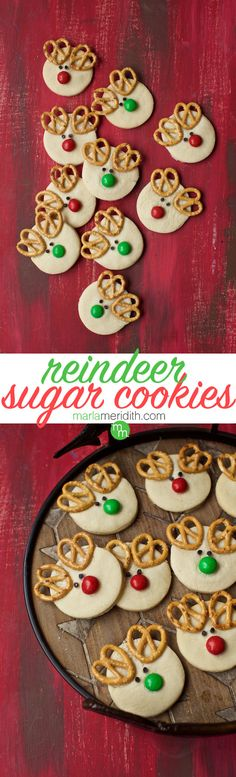 Make these adorable Reindeer Sugar Cookies for the holidays! MarlaMeridith.com #recipe #cookies #christmas #holiday