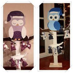 Advent calendar owl made of wood, also as angel or elk - Upcycled Crafts Homemade Christmas, Christmas Crafts, Christmas Decorations, Diy Painting, Painting On Wood, Crafts To Sell, Diy And Crafts, Christmas Storage, Upcycled Crafts