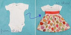 Stitched by Crystal did this great tutorial using a onsie for one of the patterns in Sew Pretty T-Shirt Dresses.