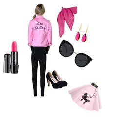 """Movie Inspired outfit contest: Grease: Pink Ladies"" by brikray1 ❤ liked on Polyvore featuring Givenchy, Quay, Lancôme, Belk Silverworks, women's clothing, women's fashion, women, female, woman and misses"
