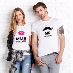 "T-shirt couple ""Monsieur j& raison / Madame j& toujours raison& Mrs Always Right, Mr Right, T-shirt Couple, Couple Tshirts, T Shirt, Couples, Tops, Diy, Women"
