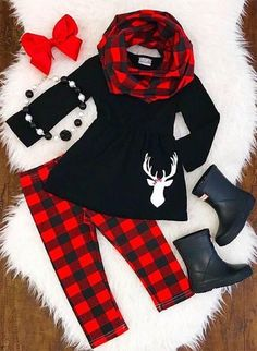 fe533f8be Cozy Dreams Buffalo Plaid 3 Piece Set Cute Outfits For Kids, Toddler Outfits,  Family