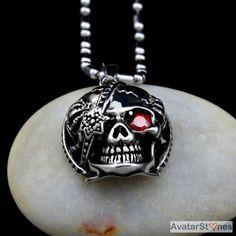 Men's Stainless Steel Skull Red Eye Pendant Necklace Chain P3V35B |eBay - $35nok (12)
